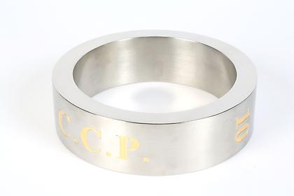 KOEN VANMECHELEN Ringed 2012, stainless steel ring with engraving, 2.25 x 8 x .75 inches, edition: 35 - each unique