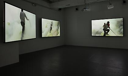 JANET BIGGS A Step on the Sun (installation view) 2012, 5 channel video installation, 9 minutes 22 seconds