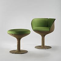 Elysee Chair and Stool, 1973