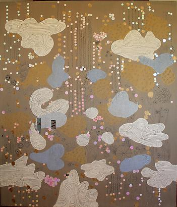 <i>Elena's Weather</i>, 2010 Oil, wax and collage on canvas 76 3/4  by 65 inches (195 x 165 cm) Image