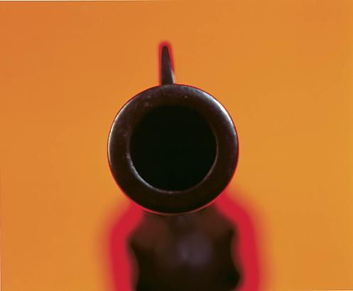<i>Colt D.A. 45, IV</i>, 1992 Cibachrome print, silicone, acrylic, wood frame 32.5 by 40 inches (82.6 x 101.6 cm) Image