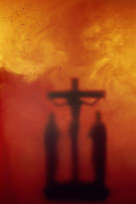 <i>Crucifixion II</i>, 1987 Cibachrome print, silicone, acrylic, wood frame 40 by 27 1/2 inches (101.6 x 69.9 cm) Edition 2/4 Image