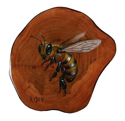 "mark ryden <i>bee</i> oil on guava wood 3.5"" x 3.5"" in. (8.9 x 8.9 cm.)"
