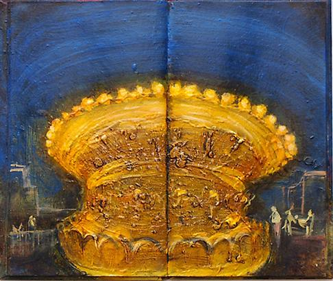 Meydad Eliyahu Untitled, 2010	   Primal Memories series, oil on book 19.5 X 26 cm