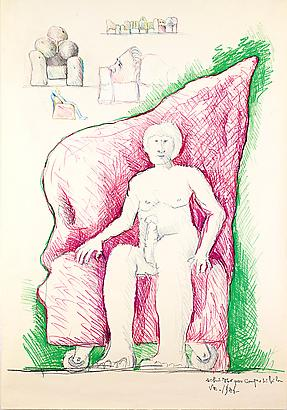 Sketch for a Modular Sofa, 1986 Pastel and Color Crayon on Paper 58.92 x 10.92 inches 149.65 x 27.73 cm