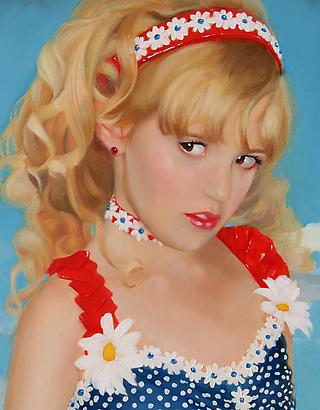 Gretchen Ryan                                                                                                             Detail of Little Miss America, 2010 Oil on linen wrapped panel  24 x 18 x 2 inches