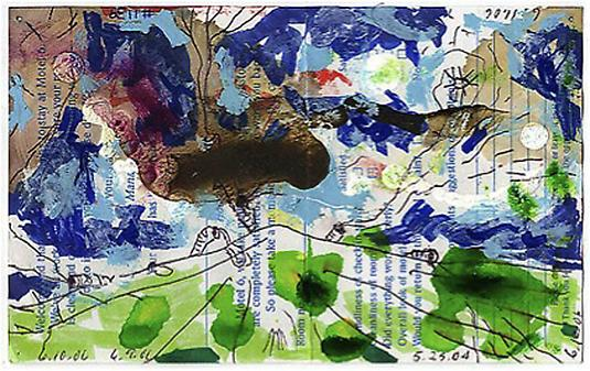 William Pope.L <i>Failure Drawing #1139 Worm Segments on Green</i>, 2004-6 Ballpoint pen, acrylic, stains and  Hair on printed paper 4 3/8 x 7 inches 11.11 x 17.78 cm