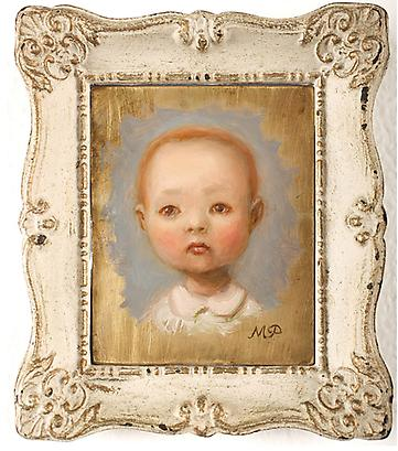 "marion peck <i>self portrait as a baby</i> oil on brass panel 4"" x 3"" in. (10.2 x 7.6 cm.) 5 3/4"" x 4 7/8"" in. (14.6 x 12.4 cm.) framed"