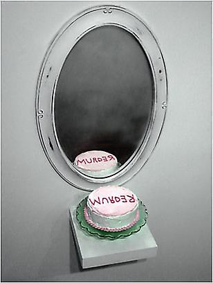 Trong Nguyen 	<i>Redrum</i>, 2009 	Acrylic paint, Styrofoam,  glass cake stand, mirror 	12 x 6 inches 	38.48 x 15.24 cm