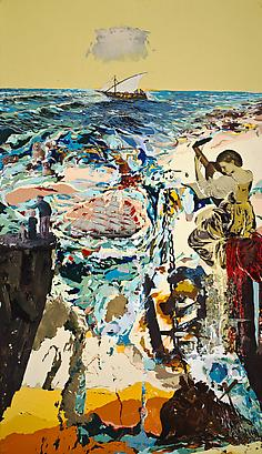 <i>Un Ville Ou IL Fait Bon Vivre</i>, 2008 Mixed media on wood 84 x 48 inches