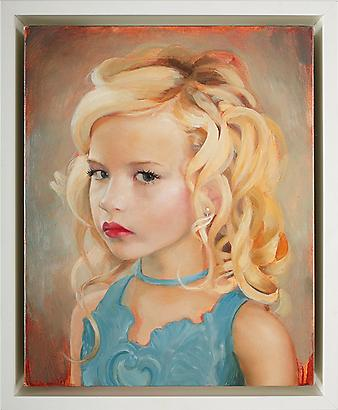 "gretchen ryan <i>self portrait as a different girl</i>, 2009 oil on linen over panel 10"" x 8"" in. (25.4 x 20.3 cm.) 11 3/8"" x 9 3/8"" in. (28.9 x 23.8 cm.) framed"