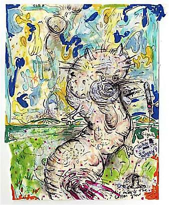 William Pope.L <i>Failure Drawing #390 Why She So Angry?</i>, 2003-8 Ink, ballpoint pen, colored marker,  Watercolor and acrylic on paper 9 x 7 5/8 inches 22.86 x 19.37 cm
