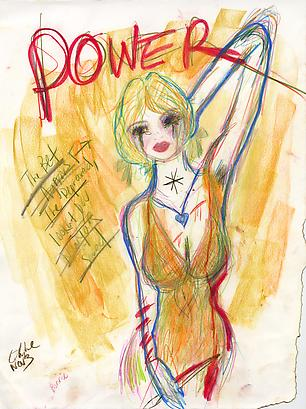 <i>Surrender</i>, 2011 Oil, colored pencil, graphite on paper 26 x 19 7/8 inches