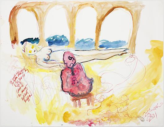 <i>Post Mortem</i>, 2011 Watercolor, marker, colored pencil, and graphite on paper 38 1/2 x 50 inches
