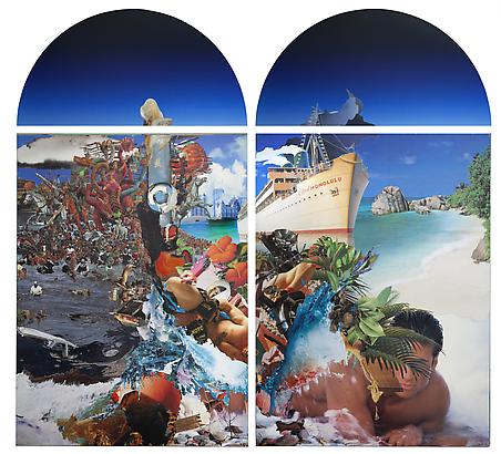 George Rahme <em>For the Tan of Your Life, and the Life of Your Tan</em>, 2011 66 x 71 in Diptych, paper on board