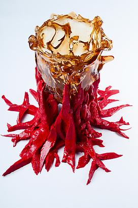 "Amber RIsing ""Red"", 2012 Resin 9.8 x 4.3 inches 24.89 x 10.92 cm"