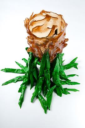 "Amber RIsing ""Green"", 2012 Resin 9.8 x 4.3 inches 24.89 x 10.92 cm"