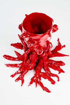 "Open Heart ""Red"" Resin 9.8 x 4.3 inches 24.89 x 10.92 cm"