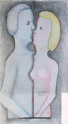 L'Abbraccio, 2009 Pencil and Color Crayon on Paper 19.2 x 10.8 inches 48.76 x 27.43 cm