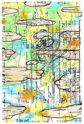 William Pope.L <i>Failure Drawing #110  Rocket Fumble, Yellow, Green, Blue Sky</i>, 2004-6 Ink, ballpoint pen, acrylic,  Highlighter, colored marker,  collage on printed paper 8 ½ x 5 11/16 inches 21.59 x 14.45 cm
