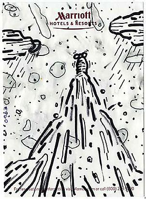 William Pope.L <i>Failure Drawing #960 Worm Into Space</i>, 2004 Black marker and ink on Hotel stationary 5 7/16 x 3 15/16 inches 13.81 x 10 cm