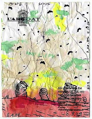 William Pope.L <i>Failure Drawing #34  Chateau Hotel Bats and Piles</i>,  2004-6 Ink, ballpoint pen, colored marker,  And acrylic on hotel stationary 5 ½ x 4 ¼ inches 13.97 x 10.8 cm