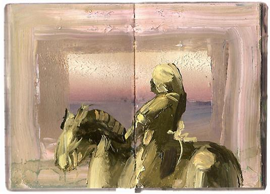 Meydad Eliyahu Untitled, 2009	   Outland series, oil on book 23 X 18 cm
