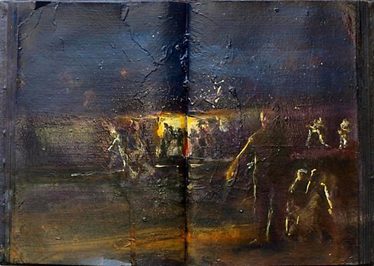 Meydad Eliyahu Untitled, 2010	   Primal Memories series, oil on book  27 X 19 cm