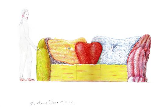 Bacione, 2011 Color Crayon on Paper 11 x 6.9 inches 27.94 x 42.92 cm