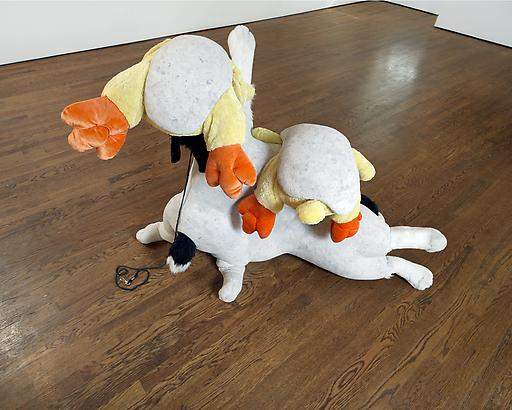 David Humphrey <i>Dogs and Chicks</i>, 2008 Fake fur, celluclay, & hydrocal 39 x 58 x 17 inches 99.06 x 147.32 x 43.18