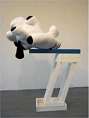 David Humphrey <i>Puppies</i>, 2009 Wood, paint, fake fur,  celluclay and hydocal 60 x 40 x 27 inches 152.4 x 101.6 x 68.58 cm