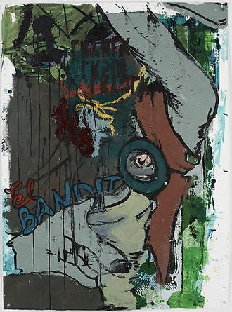 El Bandito 2008 Acrylic and mixed media collage on paper 47 ¼ x 34 ¾ in