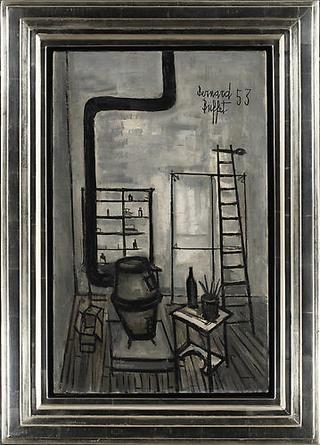 BERNARD BUFFET The Studio 1953 Oil on canvas, framed 24 x 15 in
