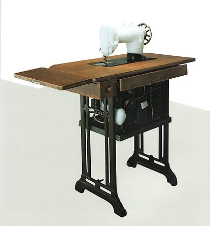 Sewing Machine (mormor), 1999 Sewing machine, wood, refrigeration unit, steel, copper pipes 39 3/4 x 25 x 39 inches