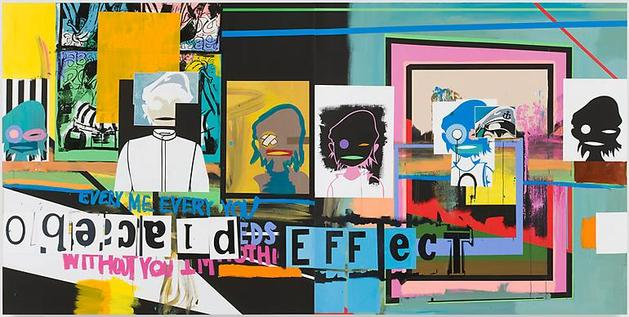 Placebo Effect 2010 Acrylic and screeprint on linen 84 x 168 x 1 1/2 inches