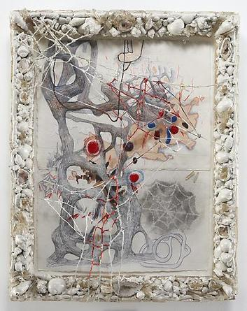 RANDY WRAY Still Rantings I 2005 Pencil, acrylic, polymer clay, macramé, quartz crystals, sewn paper  in artist's frame of wood, shells, crystals, geodes, wire, epoxy resin, enamel 26 1/2 x 20 1/2 inches Unique