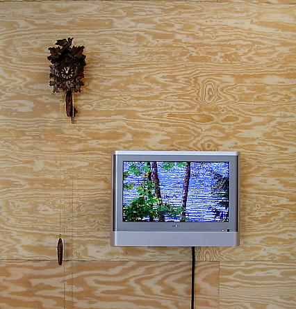 Somewhere 2005 20-inch flatscreen tv/dvd combo, cuckoo clock, cable, with or without plywood Installation dimensions variable