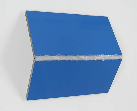 Steven Parrino Bentoverslime 2, 1995 Enamel and silicon on honeycomb aluminum panel 44 x 49 1/8 x 15 inches Image courtesy of Gagosian Gallery