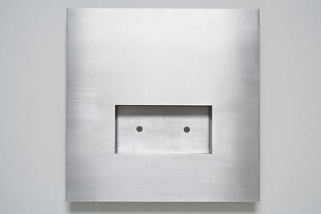 Untitled VI, 1998 Brushed aluminum, Butcher's wax, screws 12 x 12 x 1 inches
