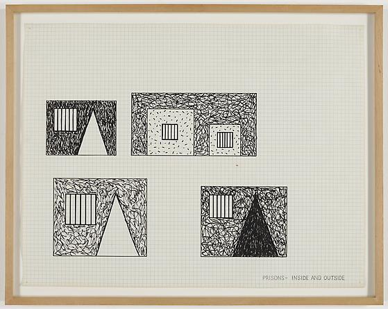 Prisons - Inside and Outside, 1981 Pen on graph paper 17 x 22 inches