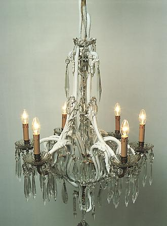 Dripping Crystal, 2001 Early 20th Century French crystal chandelier, refrigeration unit, copper pipe Height: 59 inches