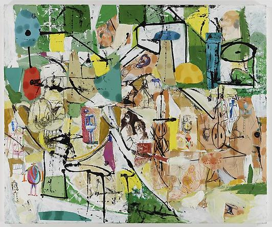 George Condo Green on Green Collage Painting, 2000 Oil on canvas 50 x 60 inches