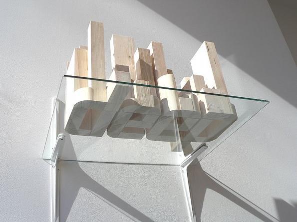 Deep (1, Sculpture), 2005 Pine, glass shelf 14 x 22 x 18 inches Edition of 3