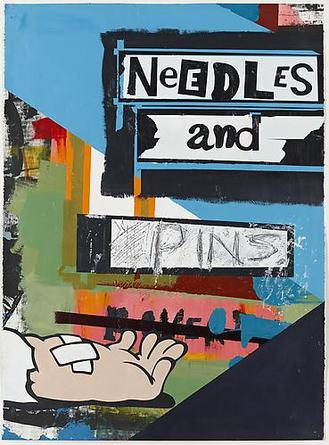 Needles And Pins 2010 Acrylic & screenprint on paper 30 x 22 inches 33 3/4 x 25 3/4 inches (framed)