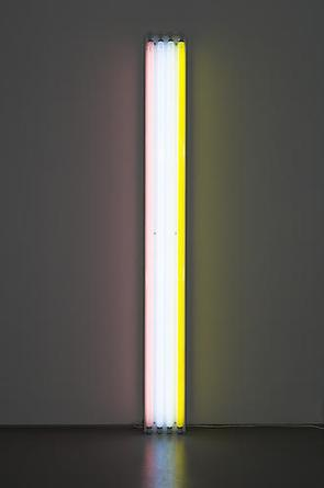 DAN FLAVIN Untitled (To Mr. & Mrs. Thomas Inch) 1964 Four 8-foot fluorescent lights (from left to right: pink, daylight, cool white, yellow), with fixtures 96 x 10 ½ x 5 in Edition 3/3 Fabricated 3