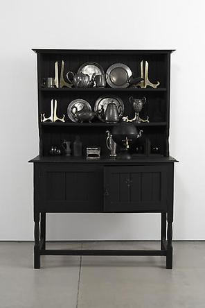 The Dresser 2008 19th Century oak Welsh dresser, blackboard paint, Samovar, ceramic, flocking, brass, pewter, magnets, iron filings 71 1/4 x 48 x 19 1/2 in