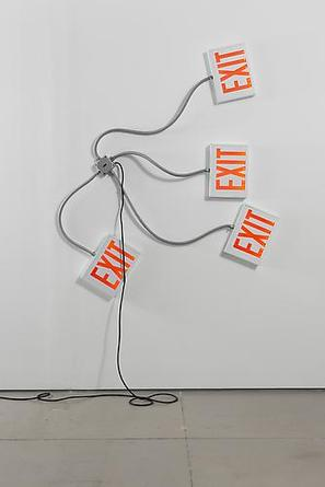 MATTHEW McCASLIN Exit 2008 Electrical exit signs, flexible conduit, electrical wiring Dimensions variable (70 x 61 x 3 inches, shown) Edition of 10