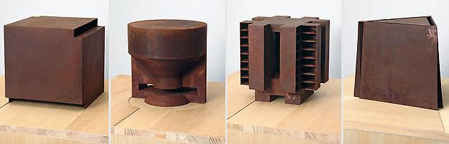 Silent Architecture, 2003-04 Corroded steel in four parts 25 x 25 x 25 cm, 25 x 25 x 25 cm, 25 x 25 x 25 cm, 28 x 31 x 25 cm Unique GLG859