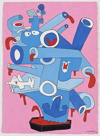 Crazy Tanker 2008 Gouache & graphite on paper 15 1/2 x 11 1/4 inches