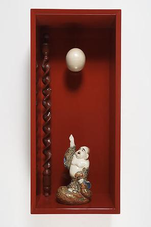 Japanesey Moment 2008 Wood, lacquer, glazed ceramic figure, hand carved wood, nylon thread 29 1/2 x 13 x 9 in